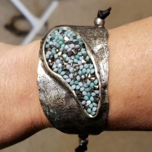 Jewelry - Silver tourqouis cuff adj bracelet